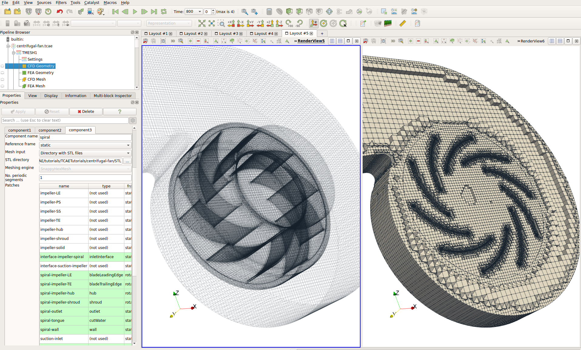 TCAE Centrifugal Fan Mesh GUI Graphical Interface