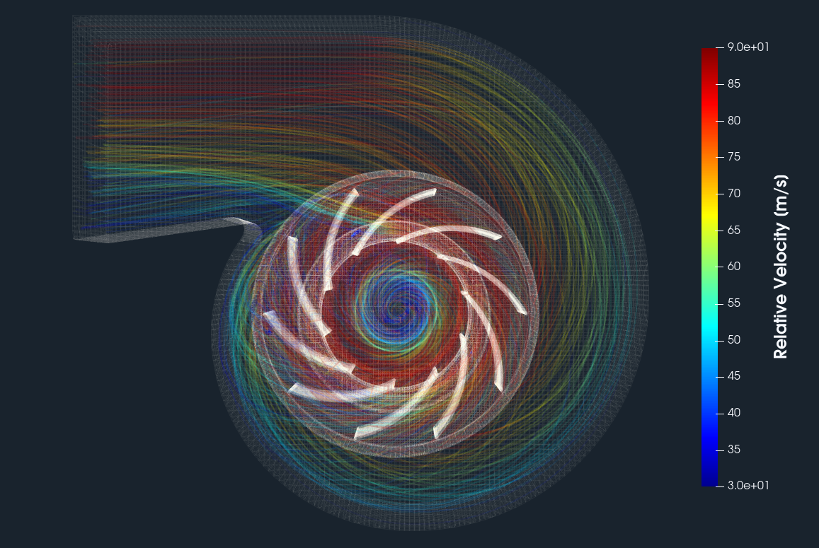 Radial Fan CFD streamtraces