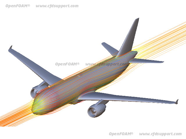 OpenFOAM CFD simulation of an aircraft body - Airbus A320