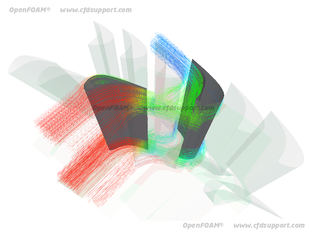 OpenFOAM CFD simulation of axial turbine - pressure colored streamlines