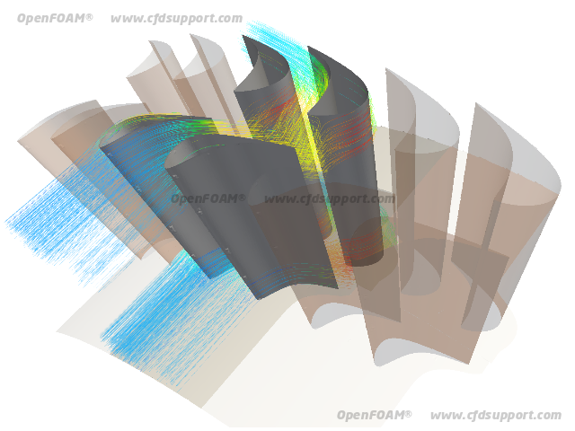 OpenFOAM CFD simulation of axial stage - velocity streamlines