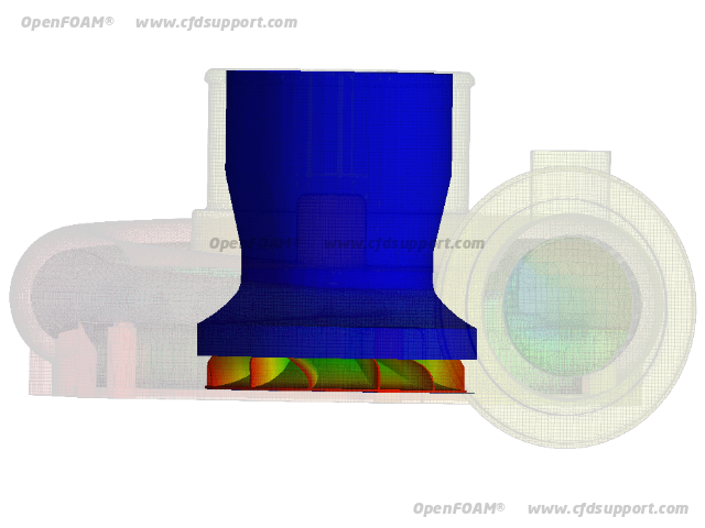 OpenFOAM CFD simulation of radial compressor - velocity magnitude