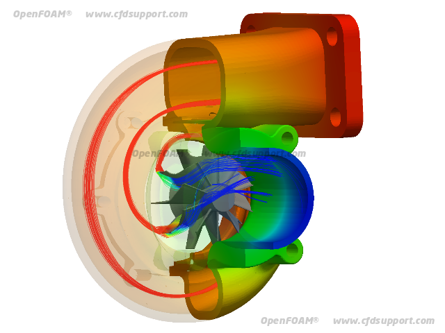 OpenFOAM CFD simulation of radial turbine - temperature
